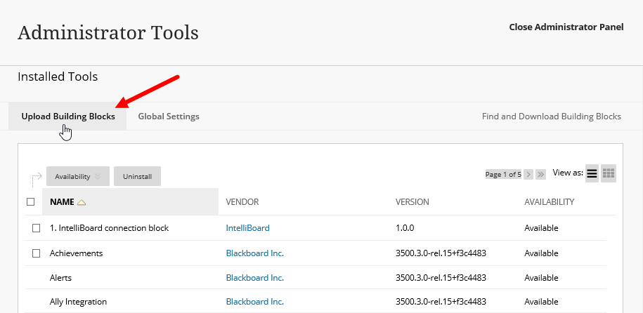 List of installed tools in Blackboard with Upload Building Blocks option identified for steps as described