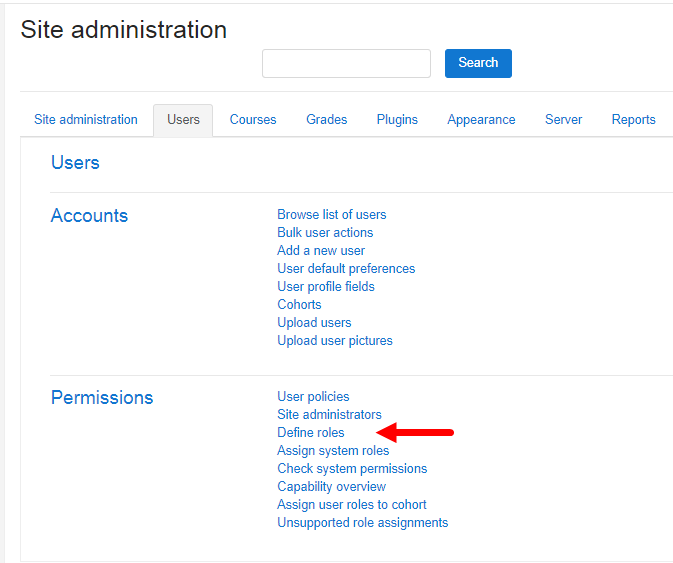 Users administration section with Permissions and Define Roles entry identified
