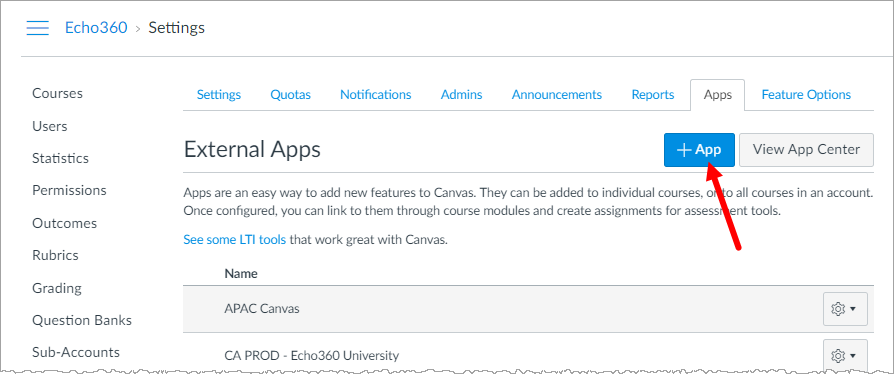 App configuration list in Canvas with Add App button identified for steps as described