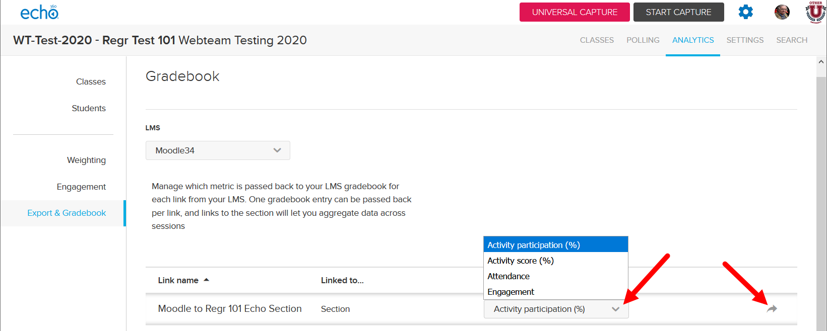 LMS Gradebook Exports metric selection list open with options shown and export icon identified for steps as described