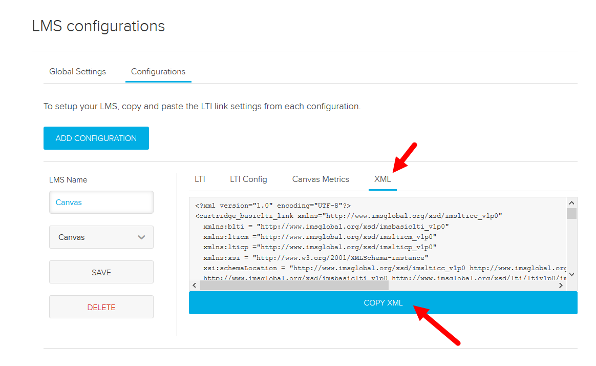 LMS Configurations page in Echo with Canvas XML tab shown with options for steps as described