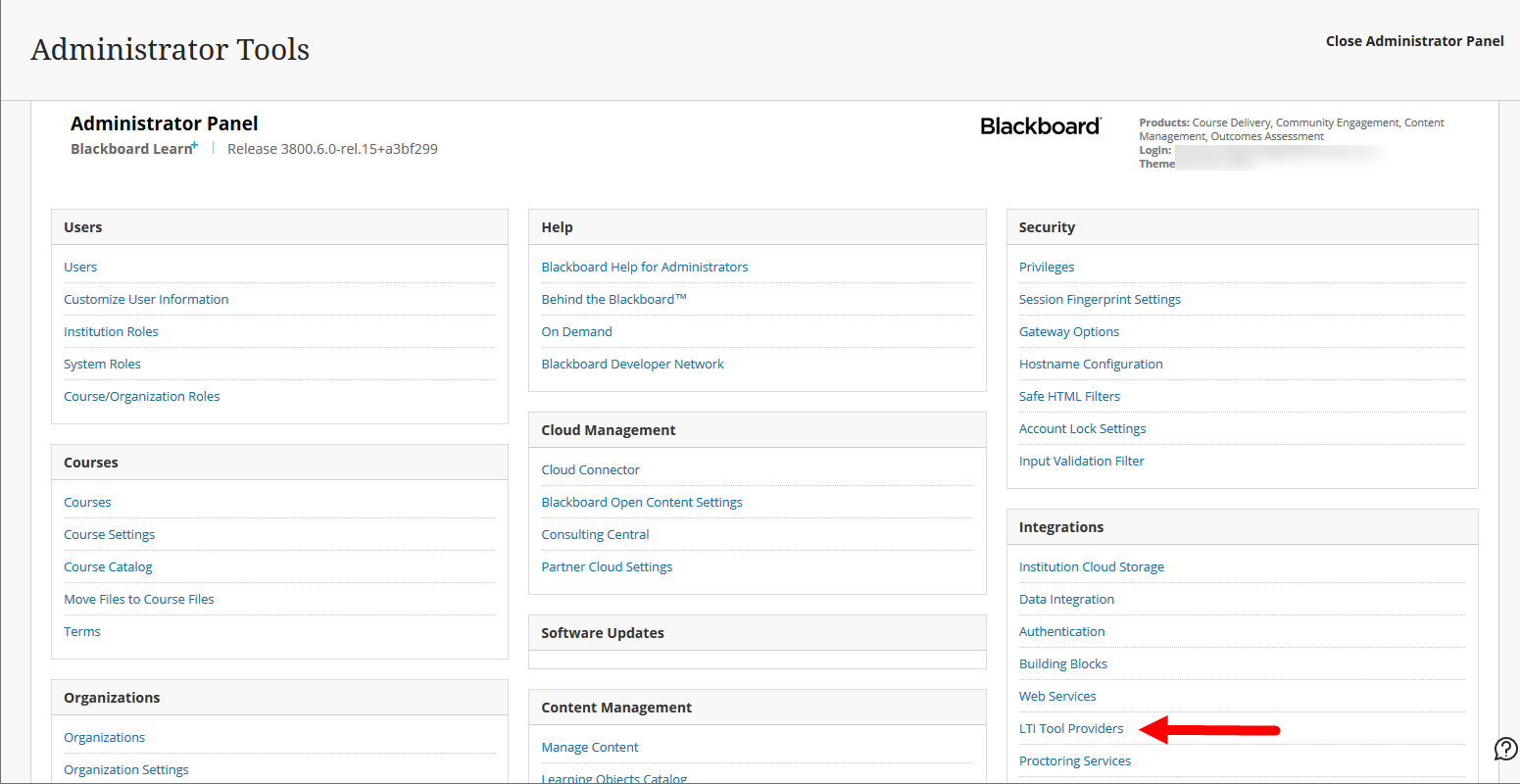 System Admin panel of Blackboard with LTI Tool Providers option identified for selection as described