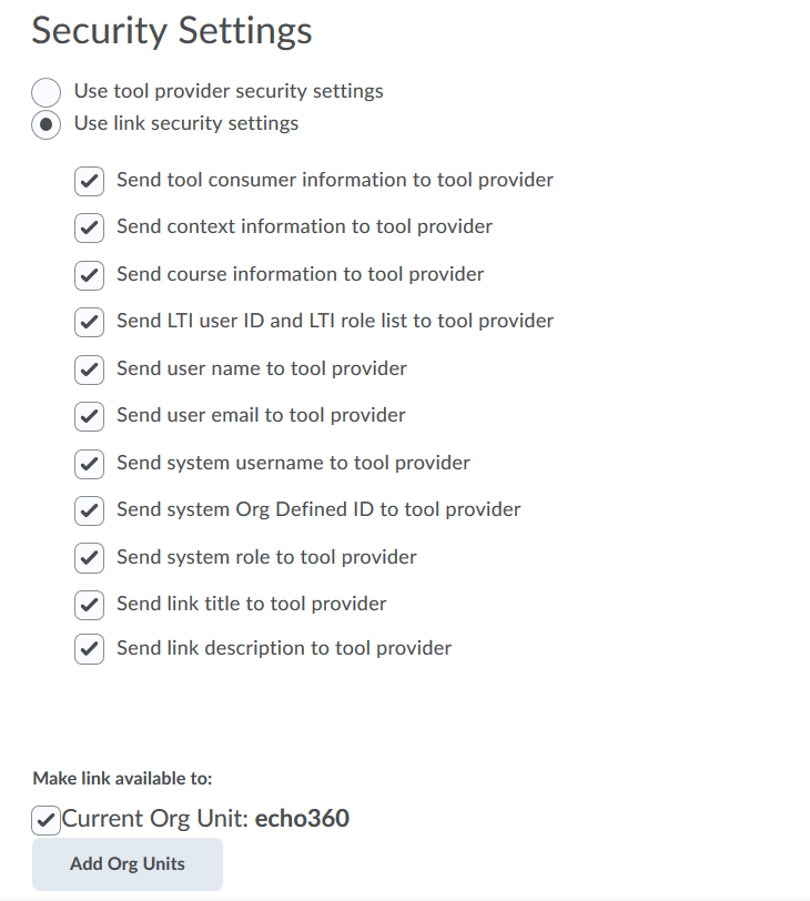 tool link security settings with options for steps as described