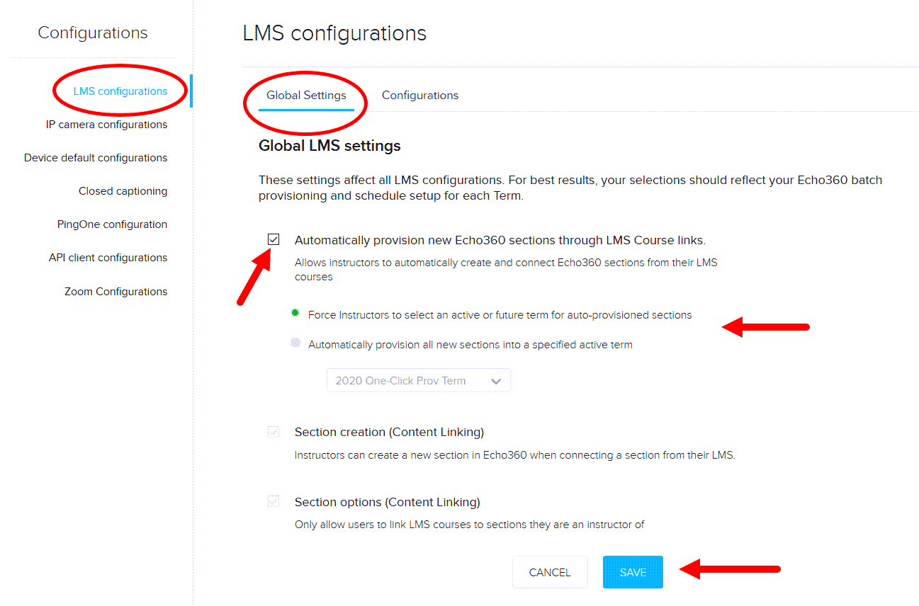 LMS Configurations page with Global Settings shown and Simplified Provisioning checked showing options as described