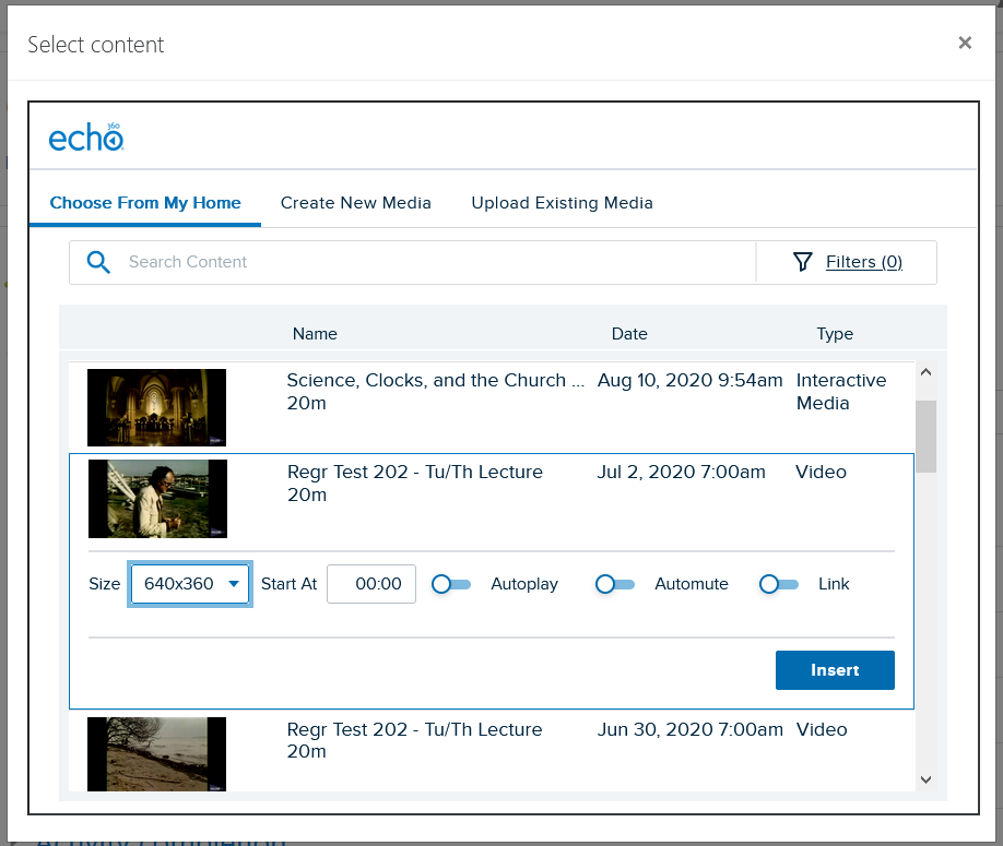 Echo360 library media selected with embedding options shown for selection as described