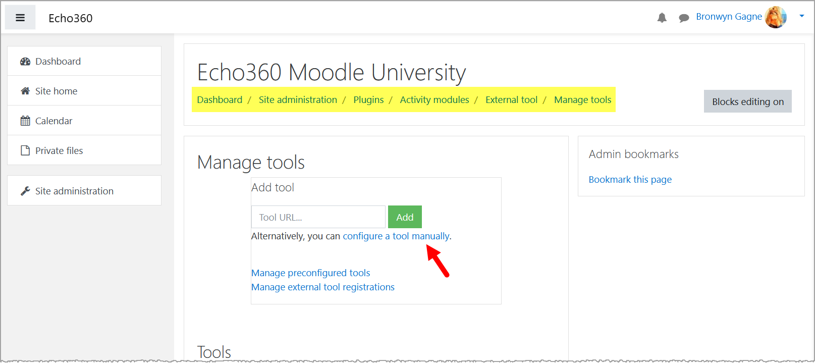 Moodle Manage Tools page with navigation breadcrumbs and Configure tool manually link identified for steps as described