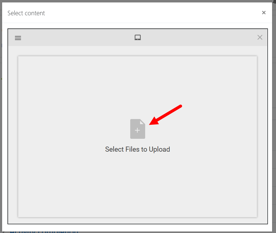 Upload media dialog box with options as described