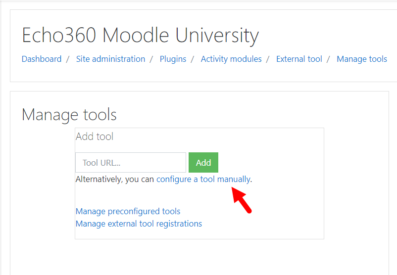 manage tools page with configure a tool manually link identified for steps as described