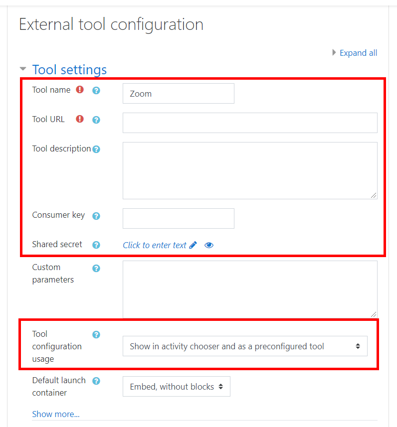 tool settings fields for Zoom tool configuration as described