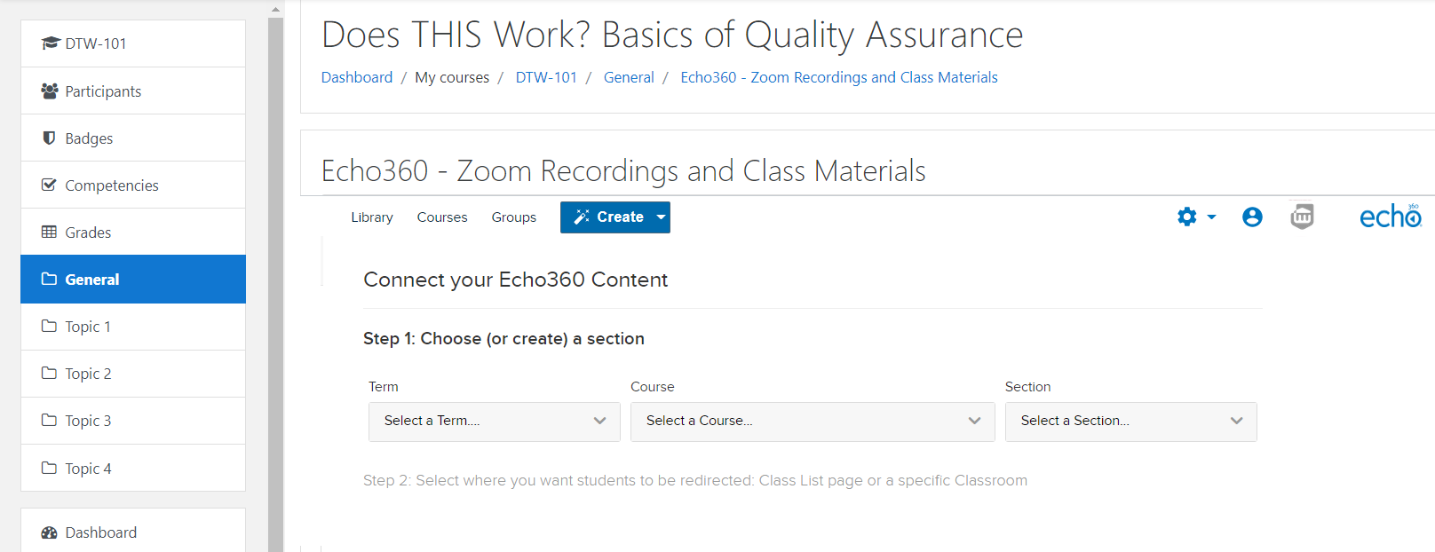 Moodle course after clicking the Echo360 link with mapping options to Echo360 for selection as described