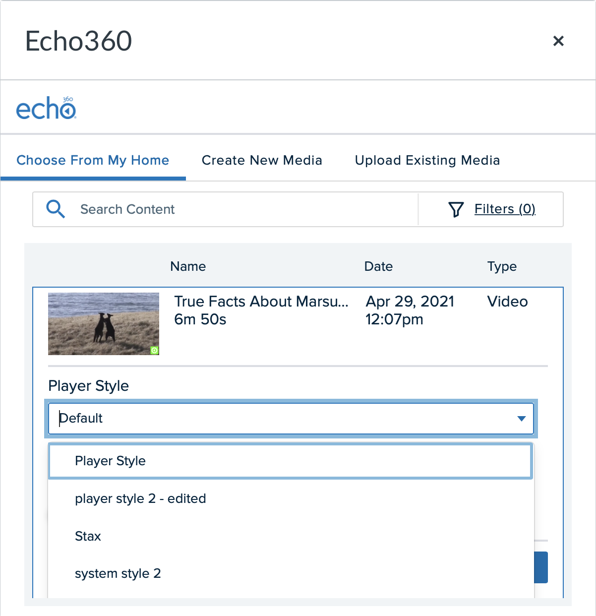Embed Echo video selection list with item expanded and style drop-down list shown for steps as described